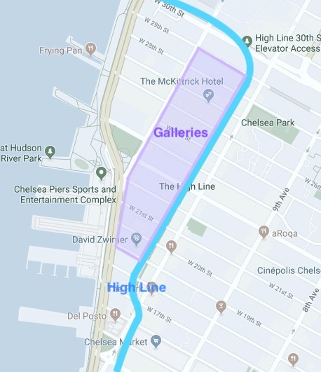 Location of the Galleries in Chelsea, New York. The area West from the High Line